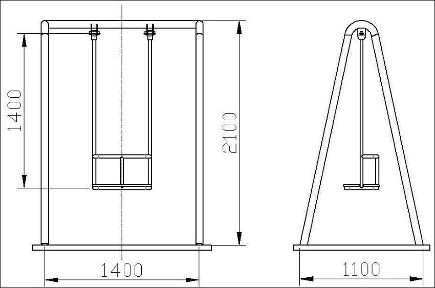 Как сделать садовую качелю из металла чертежи